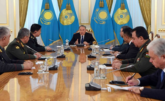President of Kazakhstan receives heads of delegations attending the SCO Defence Ministers Meeting (Source: President of the Republic of Kazakhstan website)