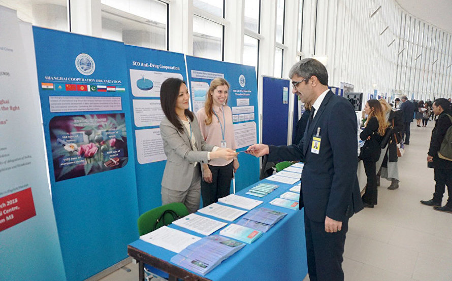 SCO opens information stand on antidrug cooperation at the UN Office in Vienna