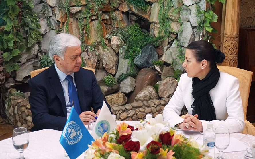 Secretary-General of the SCO Rashid Alimov and Executive Director of the Counter-Terrorism Executive Directorate of the UN Security Council Counter-Terrorism Committee Michele Coninsx