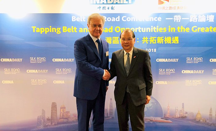 SCO Secretary-General R.Alimov with Hong Kong Chief Secretary for Administration Matthew Cheung Kin-chung